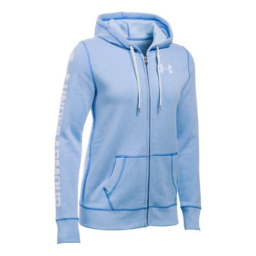 Womens Under Armour Favorite Fleece Full-Zip Hoodie & Sweatshirts Technical Tops - Water M