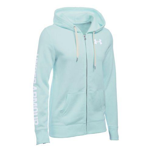 Womens Under Armour Favorite Fleece Full-Zip Hoodie & Sweatshirts Technical Tops - Aqua Falls M ...