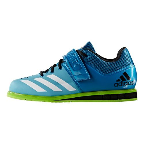 Mens adidas PowerLift 3 Cross Training Shoe - Blue/White/Green 11.5