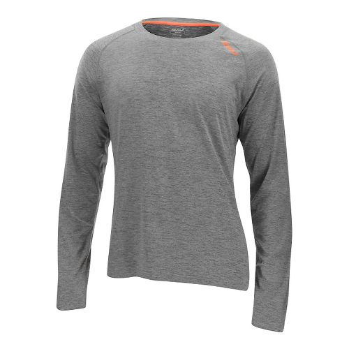 Mens 2XU Urban Long Sleeve Technical Tops - Moon Grey/Orange M