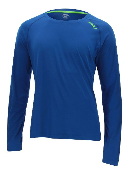 Mens 2XU Urban Long Sleeve Technical Tops - Cobalt Blue/Gecko L
