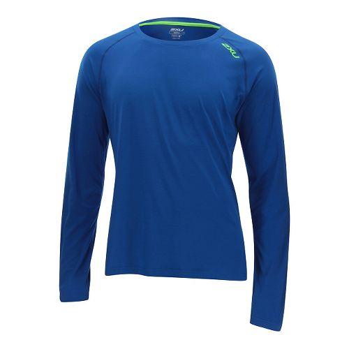 Mens 2XU Urban Long Sleeve Technical Tops - Cobalt Blue/Gecko XL