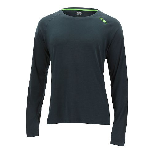 Mens 2XU Urban Long Sleeve Technical Tops - Ombre Blue/Gecko S