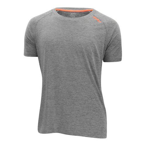 Mens 2XU Urban Short Sleeve Technical Tops - Moon Grey/Orange XXL