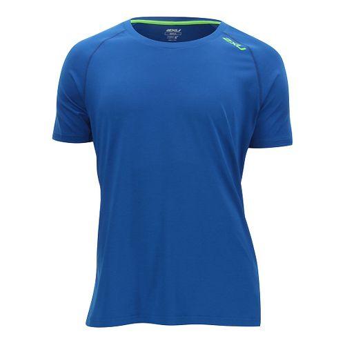 Mens 2XU Urban Short Sleeve Technical Tops - Cobalt Blue/Gecko M