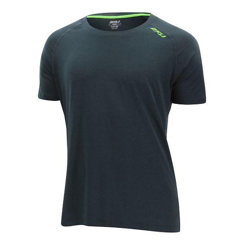 Mens 2XU Urban Short Sleeve Technical Tops - Ombre Blue/Gecko L