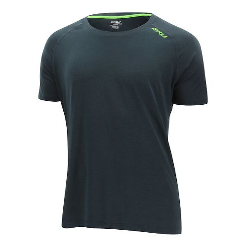 Mens 2XU Urban Short Sleeve Technical Tops - Ombre Blue/Gecko S