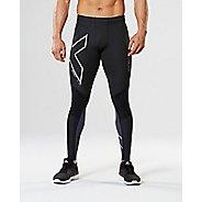 Mens 2XU Wind Defence Compression Tights & Leggings Pants - Black/Steel S