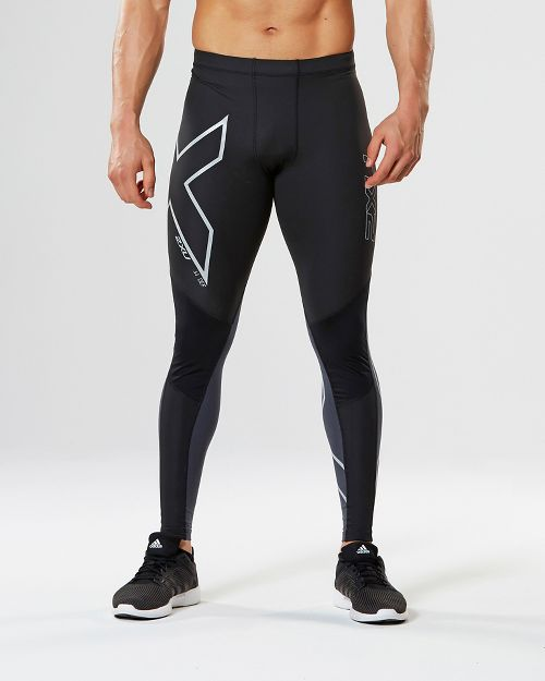 Mens 2XU Wind Defense Compression Tights & Leggings Pants - Black/Steel XXL-R