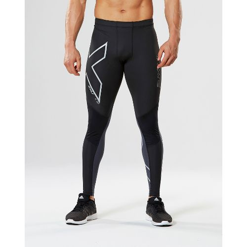 Mens 2XU Wind Defense Compression Tights & Leggings Pants - Black/Steel L-R