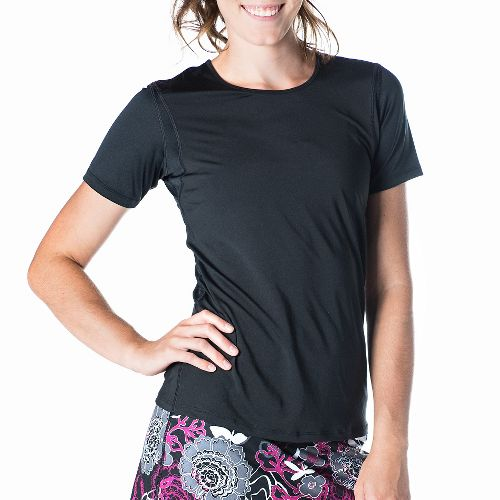 Womens Skirt Sports Free Flow Tee Short Sleeve Technical Tops - Black XS