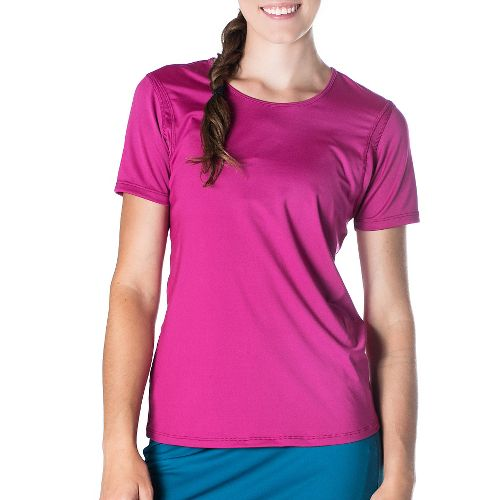 Womens Skirt Sports Free Flow Tee Short Sleeve Technical Tops - Razz L