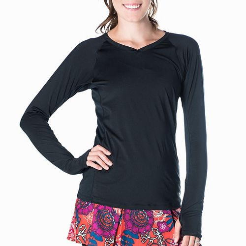 Womens Skirt Sports Free Flow Long Sleeve Technical Tops - Blue/Black M