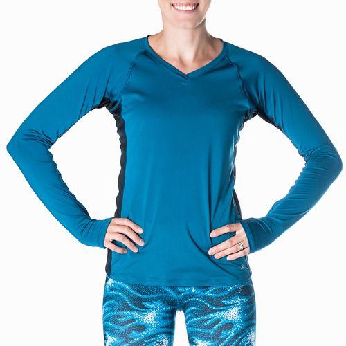 Womens Skirt Sports Free Flow Long Sleeve Technical Tops - Blue/Black XL
