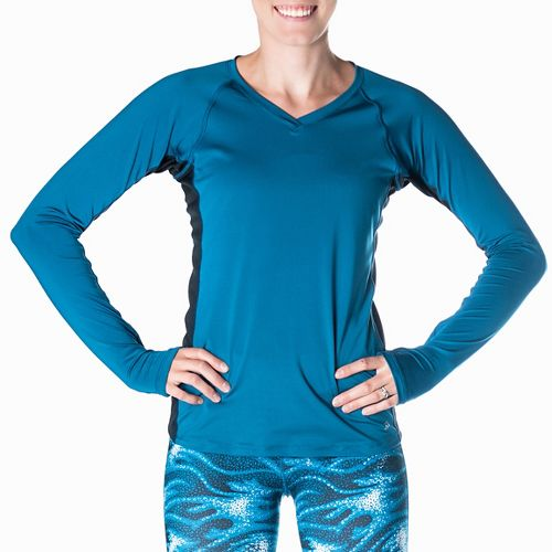Womens Skirt Sports Free Flow Long Sleeve Technical Tops - Blue/Black XS