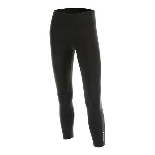 7/8 Active Compression Tights & Leggings Pants - Black/Silver M-R