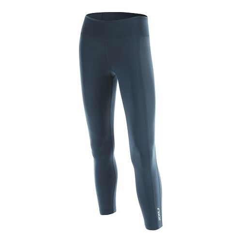 2XU Womens 7/8 Active Compression Tights & Leggings Pants - Ombre Blue/Silver S-R