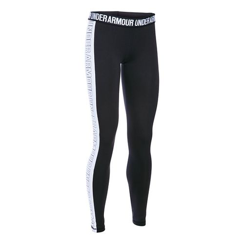 Womens Under Armour Favorite - Wordmark Graphic Tights & Leggings Pants - Black/White SR