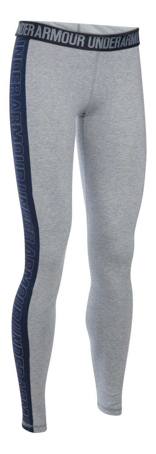 Womens Under Armour Favorite - Wordmark Graphic Tights & Leggings Pants - Grey Heather/Navy SR