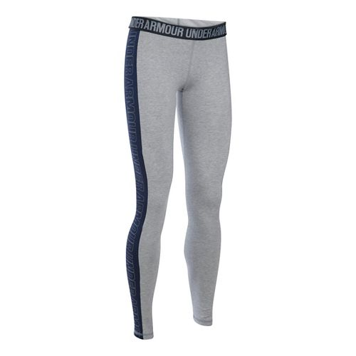Womens Under Armour Favorite - Wordmark Graphic Tights & Leggings Pants - Grey Heather/Navy SR