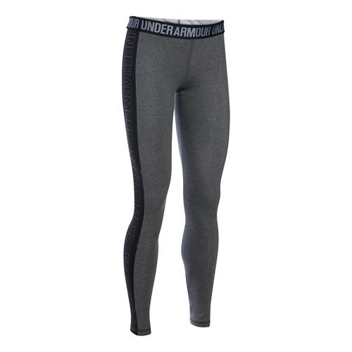 Womens Under Armour Favorite - Wordmark Graphic Tights & Leggings Pants - Carbon Heather/Black ...