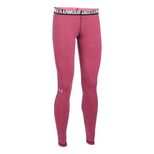 Womens Under Armour Favorite - Checkpoint Tights & Leggings Pants - Pink Sky XLR