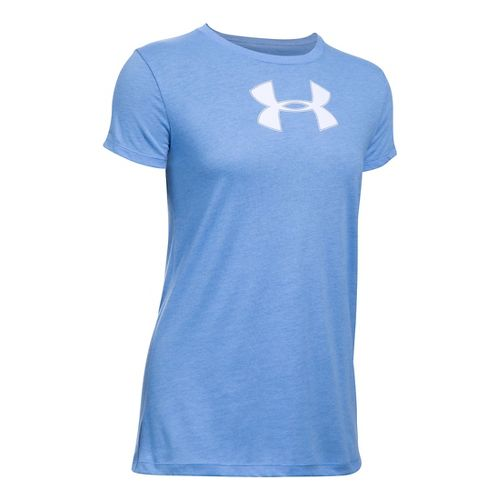 Womens Under Armour Favorite Branded Short Sleeve Technical Tops - Water/White LR