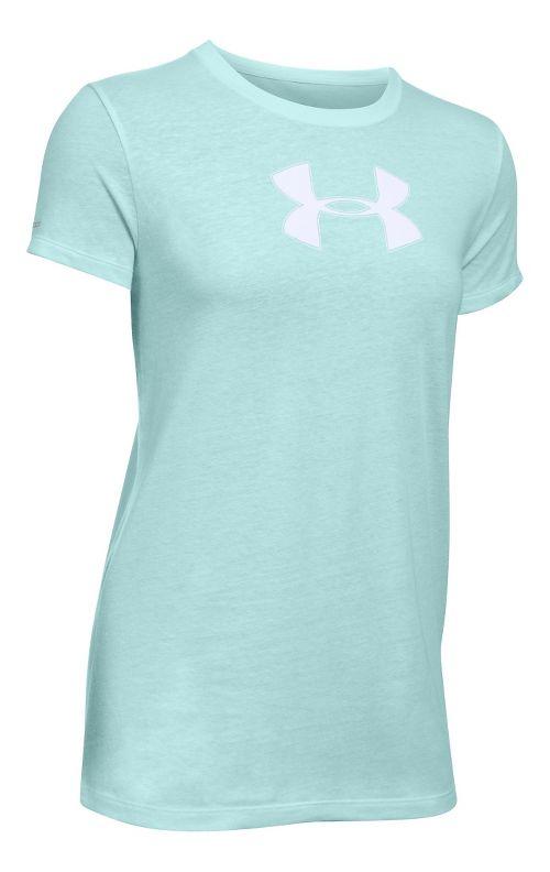 Womens Under Armour Favorite Branded Short Sleeve Technical Tops - Aqua Falls/White MR