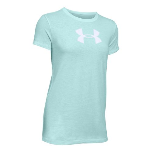 Womens Under Armour Favorite Branded Short Sleeve Technical Tops - Aqua Falls/White LR