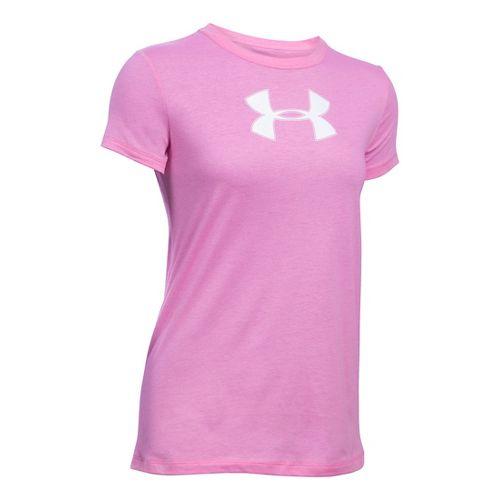 Womens Under Armour Favorite Branded Short Sleeve Technical Tops - Verve Violet/White SR