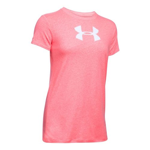 Womens Under Armour Favorite Branded Short Sleeve Technical Tops - Brilliance/White LR