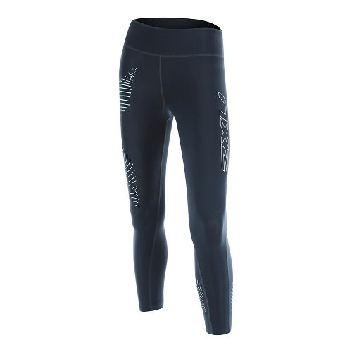 Womens 2XU HYOPTIK 7/8 Mid-Rise Compression Tights & Leggings Pants - Blue/Luminescent L