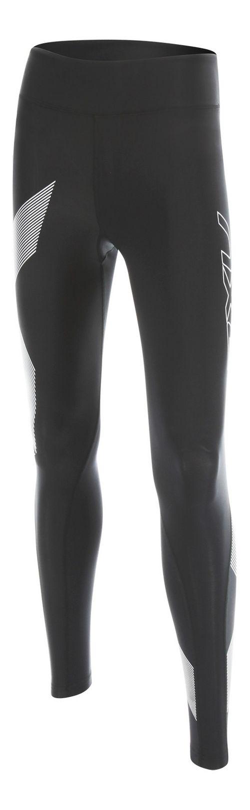 Womens 2XU HYOPTIK Mid-Rise Compression Tights & Leggings Pants - Black/Striped Silver XL