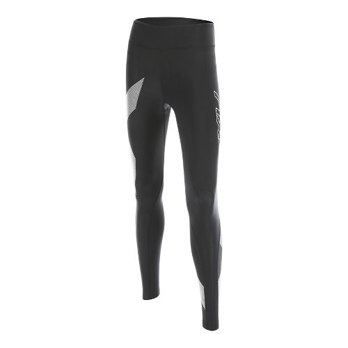Womens 2XU HYOPTIK Mid-Rise Compression Tights & Leggings Pants - Black/Striped Silver L