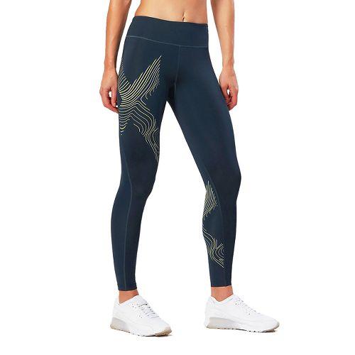 Womens 2XU HYOPTIK Mid-Rise Compression Tights & Leggings Pants - Blue/Luminescent XL