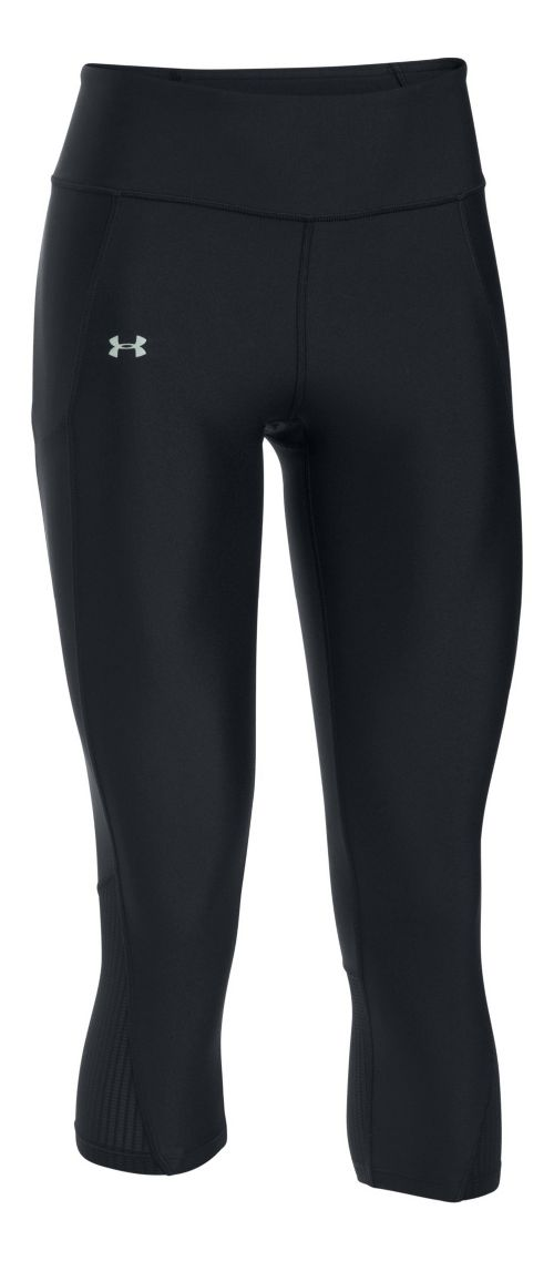 Womens Under Armour Fly By Capris Pants - Black/Black M