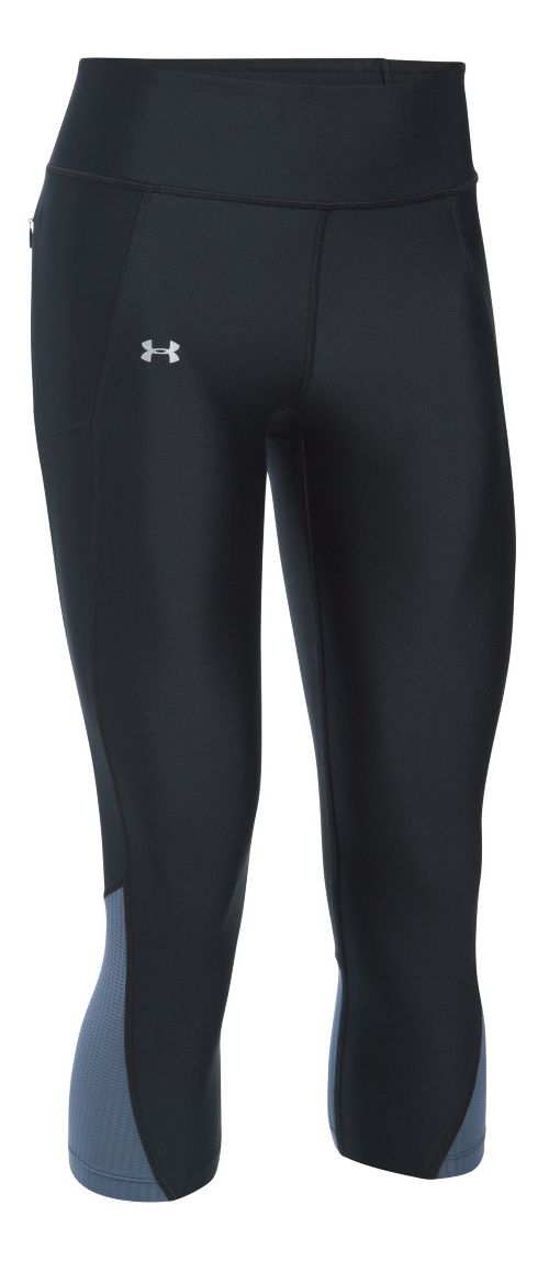 Womens Under Armour Fly By Capris Pants - Black/Aurora Purple S