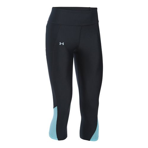 Womens Under Armour Fly By Capris Pants - Black/Maui L