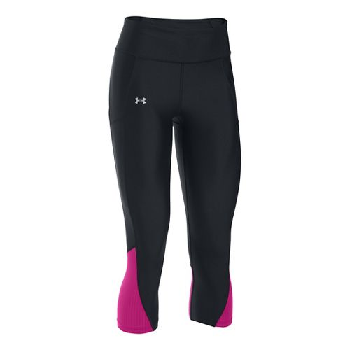 Womens Under Armour Fly By Capris Pants - Black/Magenta XS