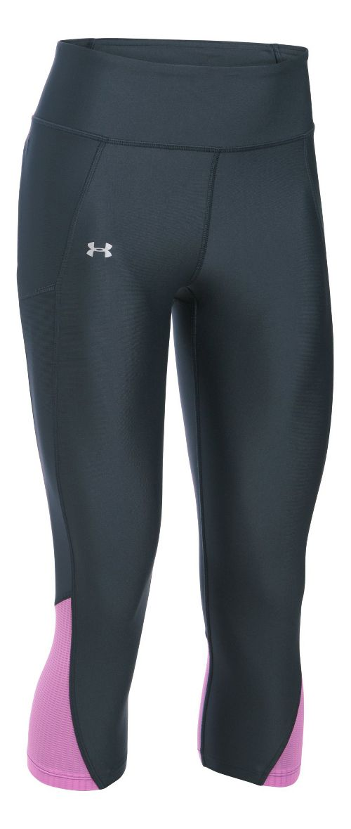 Womens Under Armour Fly By Capris Pants - Stealth Grey/Violet M