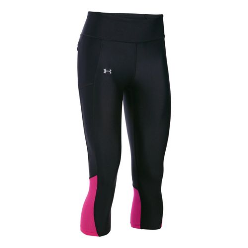 Womens Under Armour Fly By Capris Pants - Black/Tropic Pink XL