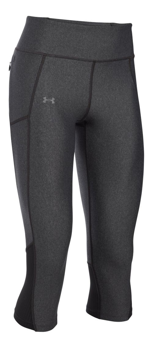 Womens Under Armour Fly By Capris Pants - Carbon Heather L