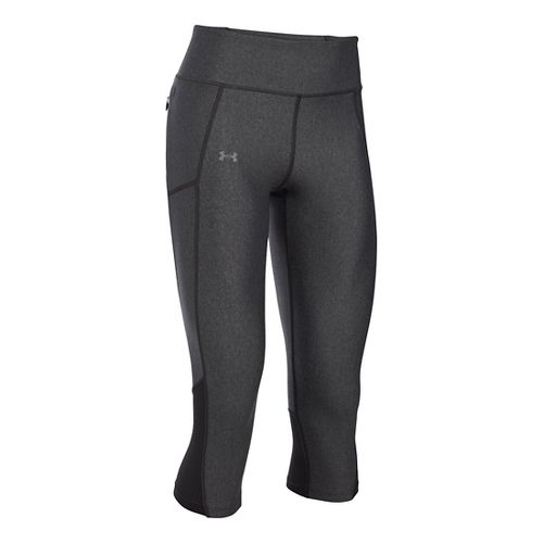 Womens Under Armour Fly By Capris Pants - Carbon Heather XL