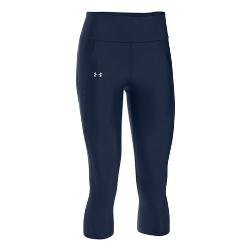 Womens Under Armour Fly By Capris Pants - Midnight Navy XL