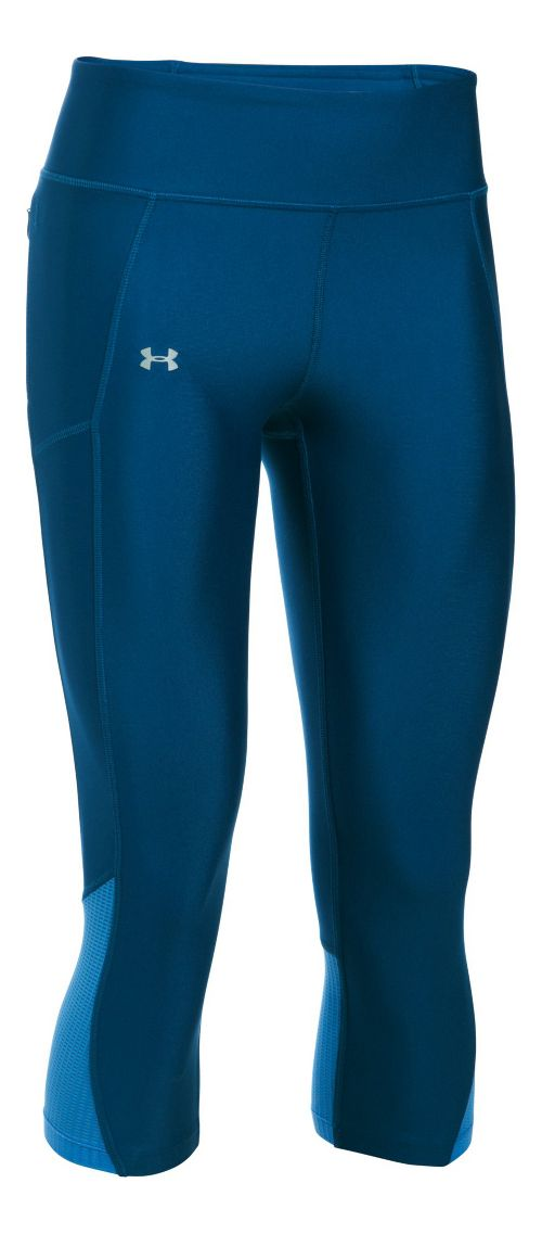 Womens Under Armour Fly By Capris Pants - Heron/Water M