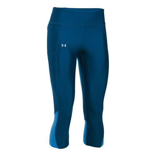 Womens Under Armour Fly By Capris Pants - Heron/Water XL