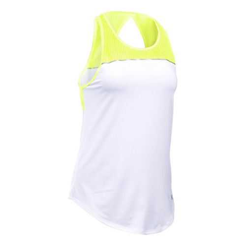 Womens Under Armour Fly By Fitted Sleeveless & Tank Technical Tops - X-Ray/White XL