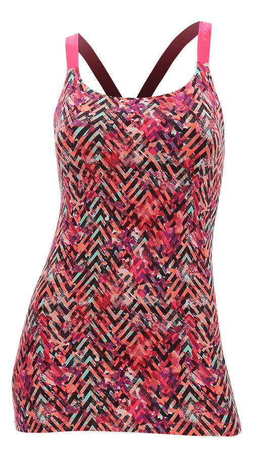 Womens 2XU Plyometric Pro Support Sleeveless & Tank Tops Technical Tops - Pink Alpine Print XS