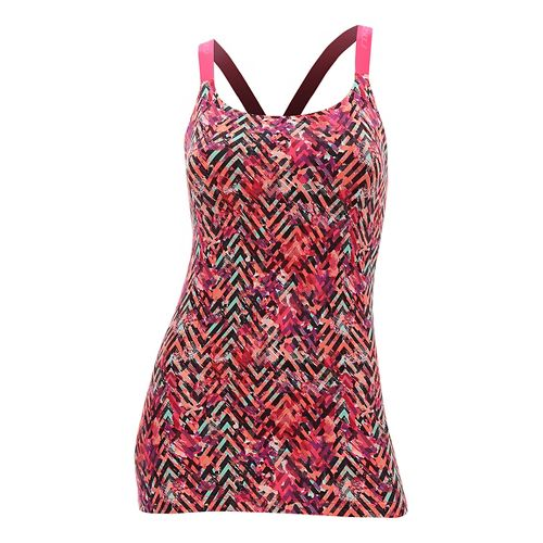 Womens 2XU Plyometric Pro Support Sleeveless & Tank Tops Technical Tops - Pink Alpine Print ...