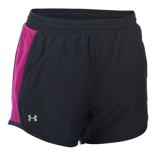 Womens Under Armour Fly By Perforated Run Lined Shorts - Black/Magenta XS